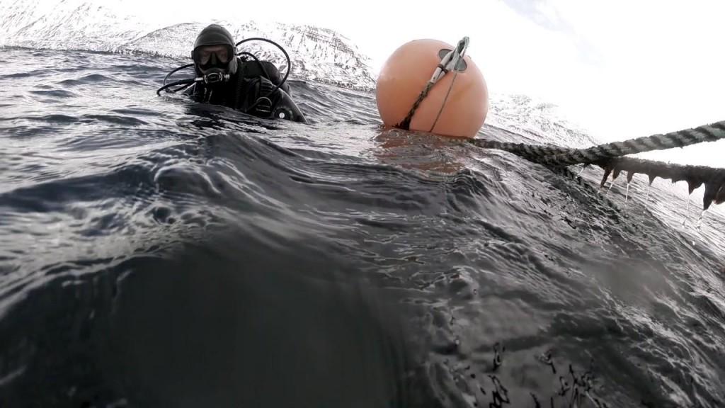 Erlendur ganz in seinem Element: Tauchen in Island